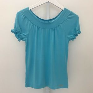 TED BAKER LONDON TURQUOISE BLUE SHORT SLEEVE TOP S